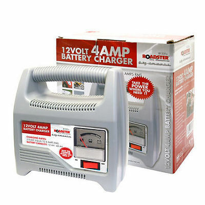 12V 4 Amp Heavy Duty Battery Charger Electrical Car Vehicle Van Truck Lorry
