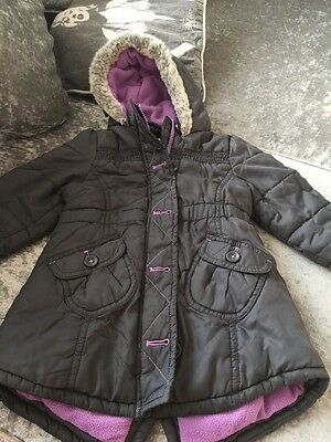 M&S Indigo Collection Girls Fleece Lined Parka Coat Age 1.5/2yrs Good Condition