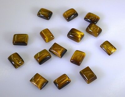 Tiger Eye cabochon Brown Emerald cut gems 6x8 1 pc