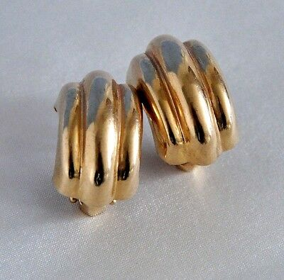 14K GOLD VINTAGE RIBBED EARRINGS w FRENCH CLIP BACKS 5.5g