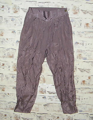Size 10-12 vintage 80s high waist pleat taper harem trousers silky purple (GX91)
