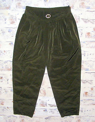 Size 12-14 vintage 80s high waist pleat taper harem trousers silky green (GX85)