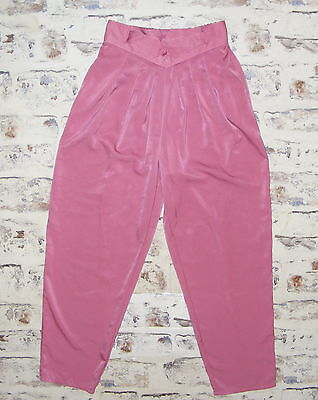 Size 8-10 vintage 80s high waist pleat baggy harem trousers silky pink (GX93)