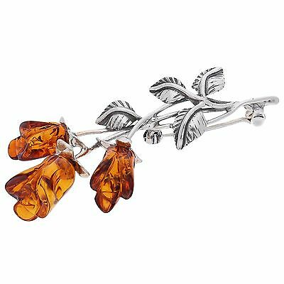Cognac Baltic Amber Sterling Silver 925 Jewellery Pin Brooch Rose, Kab-9