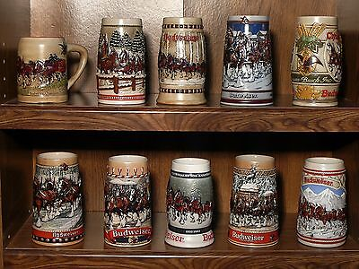 Budweiser Holiday Christmas Steins 1980 to 1989