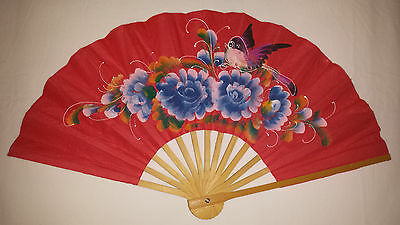Handheld Fan c1980s - Hand Painted Bird and Flowers