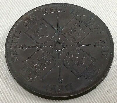 Victoria Florin, 1891. Rare In This High Grade, Lovely Uncleaned Dark Tone.