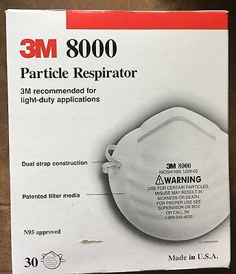 25 3M 8000 Particle Respirator face Masks N95 approved LIGHT duty USA LOT new