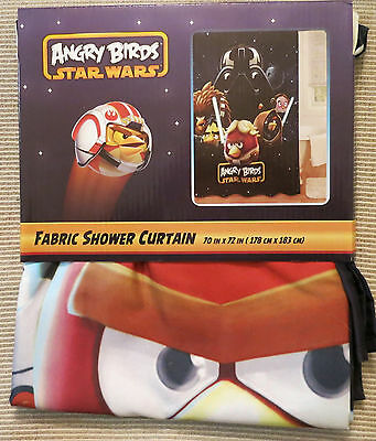 "ANGRY BIRDS Star Wars BATH Fabric Shower Curtain 70""x72"" polyester black game"