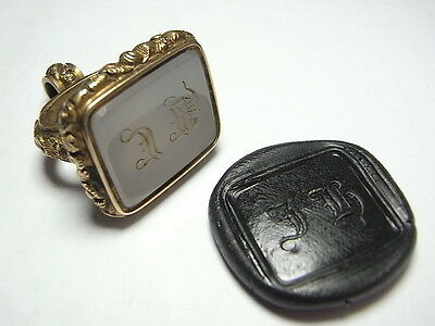Large Agate British Pinchback Gold 18th~19th Century Desk Seal Matrix JH  (A937)