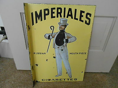 Vintage Sign Imperials Cigarettes Russian Mouth Piece Flange Porcelain Sign 1920