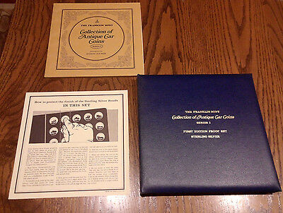 Franklin Mint Sterling Silver .925 Antique Car Coin Proof Set Series 2 Medals