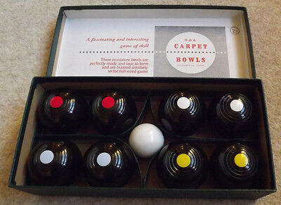 B & A Indoor Miniature Carpet Bowls Game Boxed Made In England