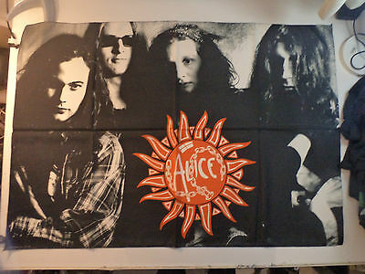 Vintage ALICE IN CHAINS  Unused 90s TEXTILE POSTER FLAG grunge pearl jam t shirt