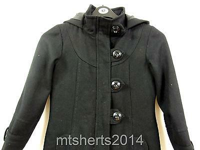 Girls Next Wool Mix Black Hooded Coat Jacket Age 9-10 Years 140cm LE7