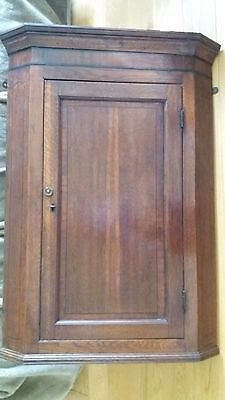 Antique Oak Corner Wall Cupboard