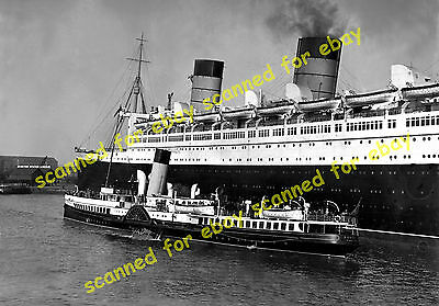 """Photo - Queen Mary & paddle steamer """"Southsea"""" at Southampton, April 1936"""