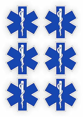 6x Star of Life Hard Hat Stickers | Helmet EMT Decal | Rescue Paramedic (6-pack)