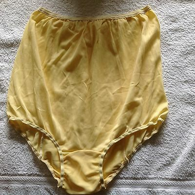 Vintage 100% Acetate Nylon Sunshine Yellow Double Back Brief Panties L Large