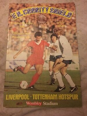 Liverpool FC Tottenham Hotspur Official Programme Charity Shield 2nd August 1982