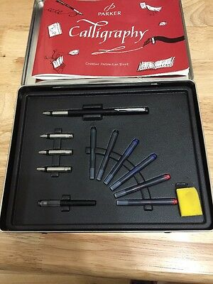 Boxed Parker Calligraph Set. 6 Nibs. Vector Fountain Pen With Extra Broad Nib