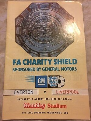 Everton V Liverpool FC Official Programme FA Charity Shield 18th August 1984