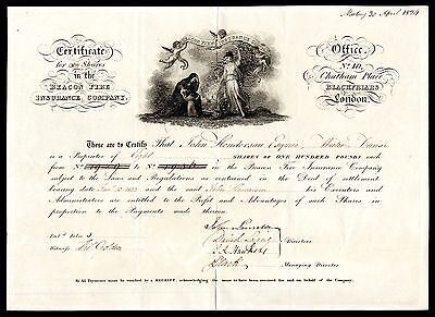 Beacon Fire Insurance Company, £100 shares, 1824, attractive and rare