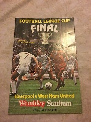 Football League final Official Programme Liverpool FC V West Ham 14th March 1981