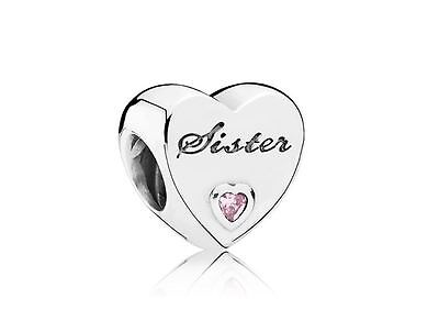 Sister Charm Bead Authentic Pandora Sterling Silver Pink Heart 925 Ale S925 CZ