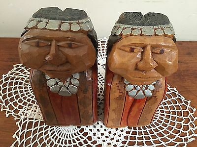 Vintage FOLK ART Native American INDIAN CHIEF & WIFE Hand Carved WOODEN FIGURES