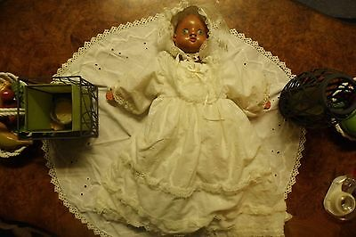 Hand Carved Wood and Cloth Baby Doll By Rlu Raika