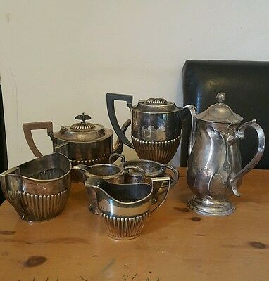 Collection of Antique and Vintage Silver Plate tea sets