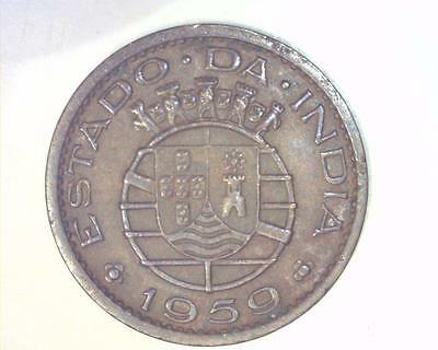 PORTUGUESE INDIA 1959 TEN CENTAVOS KM30 EXTREMELY FINE ~345201-.Eh