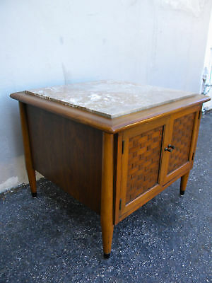 Mid Century Marble Top Low Nightstand / Side Table 0091