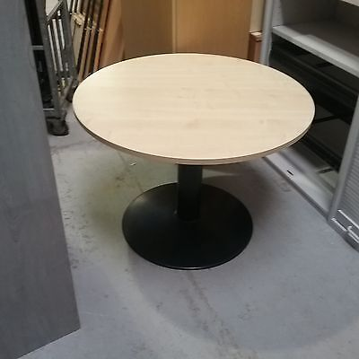 small round office table beech affect with metal base