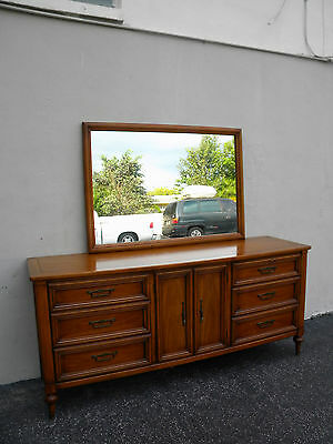 Mid-Century Long Dresser with Mirror by White 4085