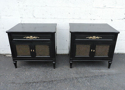 Pair of French Painted Black Nightstands Side End Tables by Henredon 7770