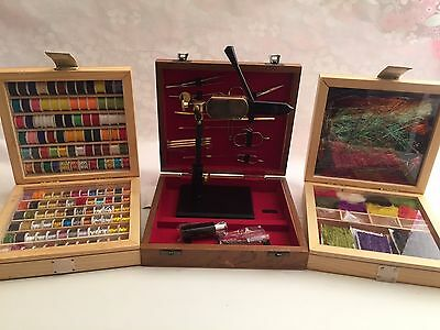Fly tying Vice, tools, Tying threads and Tying materials, fly tying kit