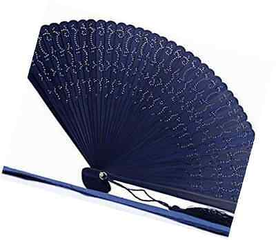 HIGH QUALITY RARE Engraved Wooden Navy Blue Folding Hand Fan with a Pouch ( HQF1