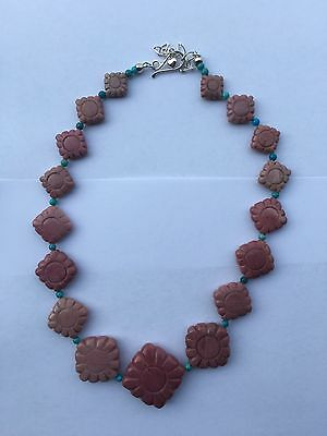 Jay King DTR Beaded Necklace Turquoise Stone Rocks Signed Sterling 925