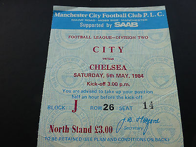 Manchester City v Chelsea (Division two) 5th May 1984.