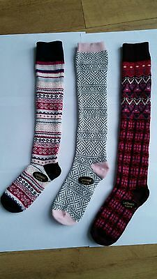 3 pairs Ladies Luxury Shetland Wool Rich Socks  70%WOOL KNEE HIGH LONG SOCKS WZB
