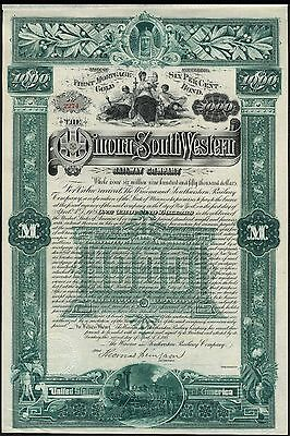 Winona and South Western Railway Co., 1st Mortgage Bond, 1888, $1000