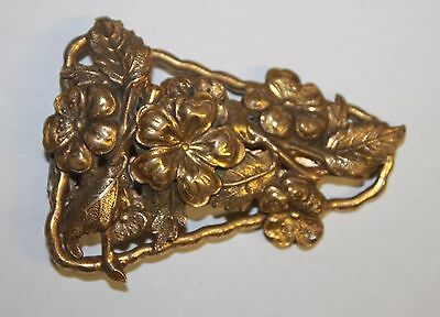 Vintage to Antique Gold Tone Floral Flowers Dress Clip Fur Scarf Estate Jewelry