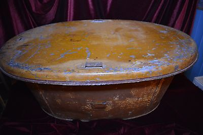 19th Century Scrumbled Campaign Tin Bath, with Lockable Lid