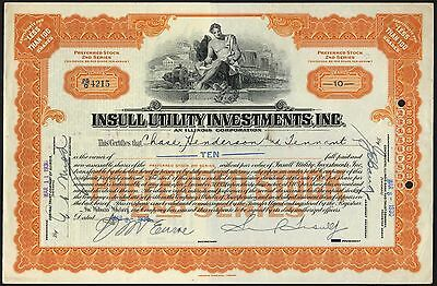 U.S.A.: Insull Utility Investments Inc., less than 100 shares, preferred stock