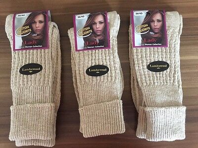 """3  Pairs Ladies Long  Quality Chunky Thermal Socks Hike Boot Socks   Tpklmh"