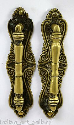 Vintage Indian Classic Style Old Brass Pair Of Door Handles Home Décor. i24-56