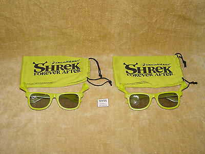 2x COOL RARE DREAMWORKS SHREK FOREVER AFTER LOOK 3D GLASSES WITH POUCHS