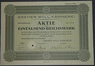 Lot 10 X Bremer Woll-Kämmerei 1942 1000 RM